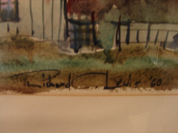 352: Richard C. Lewis, watercolor of house, signed lowe - 3