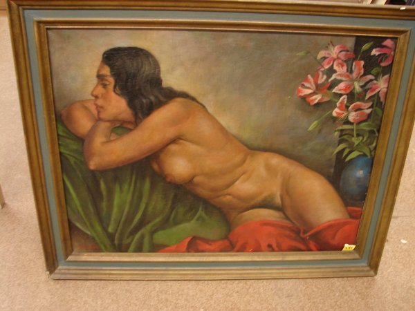391: E. Honigberger, oil on canvas, nude, signed lower