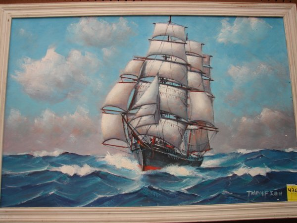 436: Thompson, Ellery Thompson, oil on board, clipper s