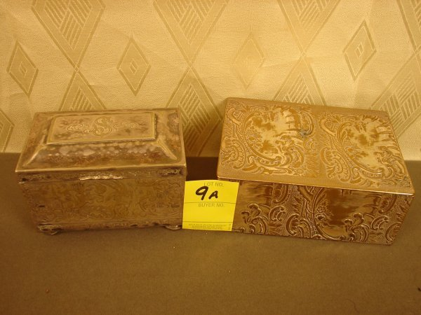 9A: 2 Silver Plated Boxes, 1 has 4 ball feet (damaged)