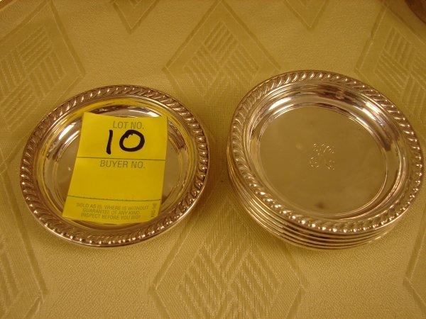 "10: 6 sterling coasters, monogrammed K, 4.2 oz tw, 3"" d"