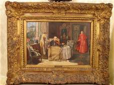 145: Jose Gallegos Y Arnosa oil on panel, 3 figures, in