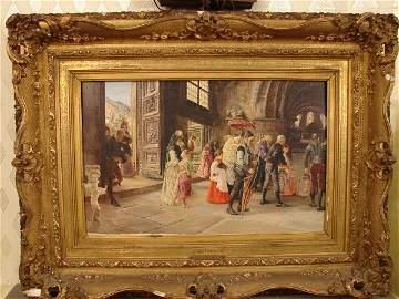 146: Jose Gallegos Y Arnosa oil on panel, 19 figures in