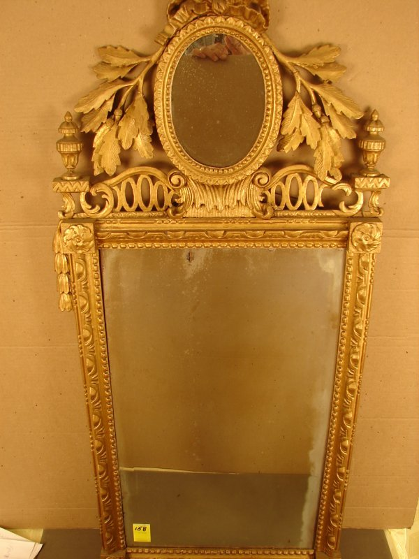 158: Fancy rectangular beveled gold mirror, with oval m