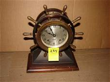 234: Chelsea ship's bell clock in shape of ship wheel,