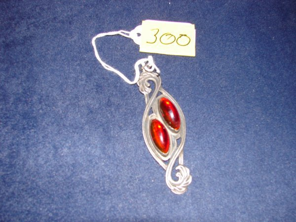 300: Silver pendant with two oval red and yellow teardr