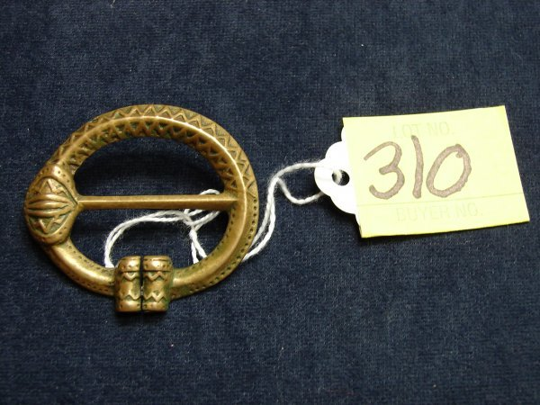 "310: RR made in Finland brass buckle pin, 2"" long, need"