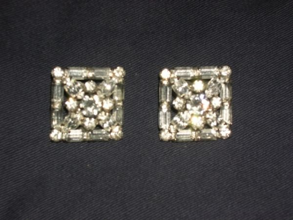 312: rhinestone clip earrings