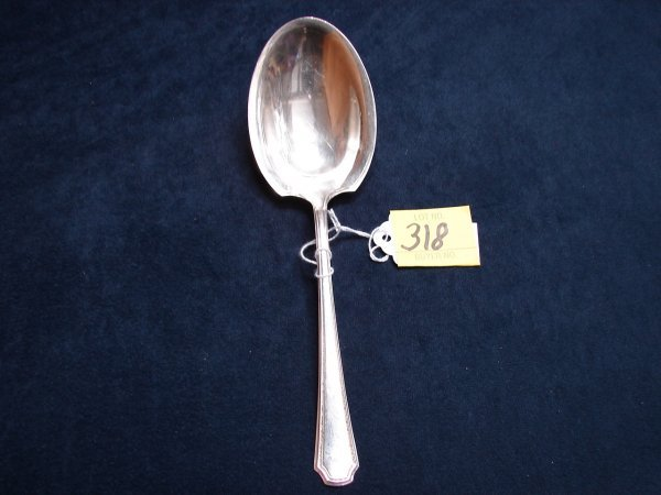 "318: Sterling silver spoon, pat. 1922, 8"" long, bowl 2"""