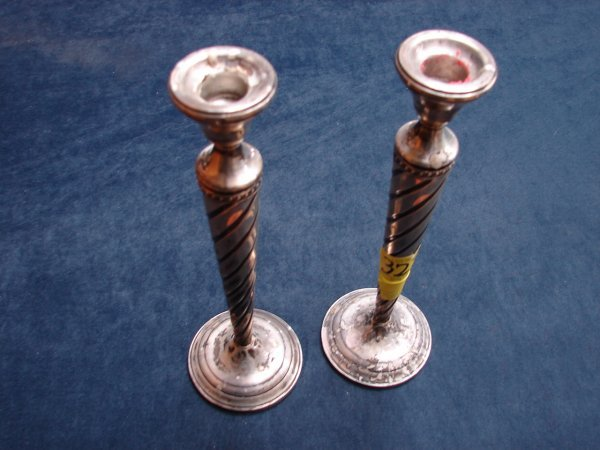 322: Pair of Candlesticks, sterling silver weighted, sw
