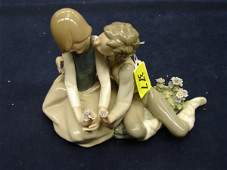 377: Lladro statue, hand made in Spain, 1979, boy and g