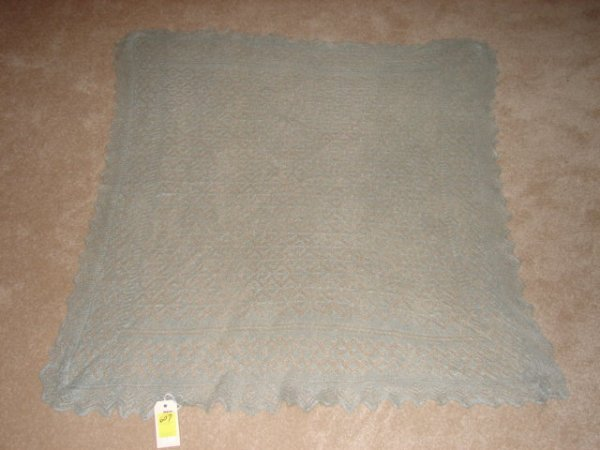 "607: Scarf, wool, grayish blue, 44"" x 48""."