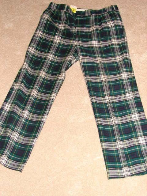 618: L.L. Bean wool trousers, plaid, size 18, green, bl