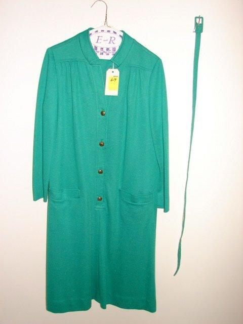 619: Dress by I. Magnin Robert Leonard, bright green wi