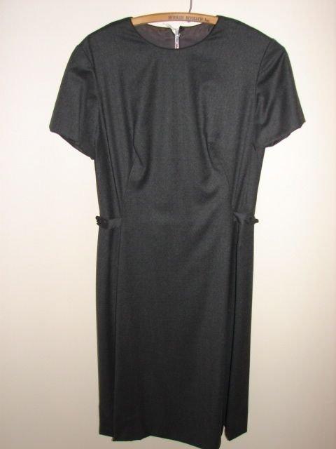 620: Dress, wool, size 16, dark gray, frog fastener at