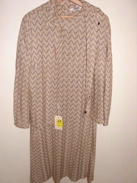 621: I. Magnin knit dress with jacket, tan