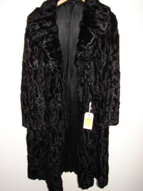 713: Fur Coat, black Persian lamb, 4 buttons, long slee