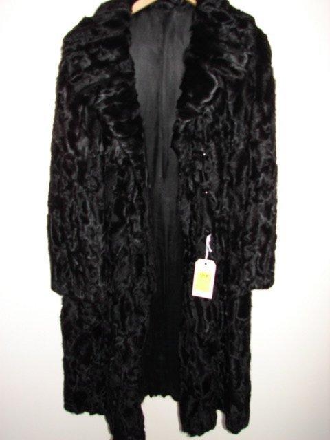 713: Fur Coat, black Persian lamb, 4 buttons, long slee