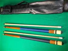 2 Viking Pool Cues, not straight, 2 butts, 2