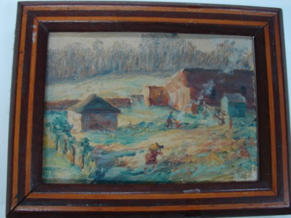 6: Painting, oil on canvas, signed on reverse illegible