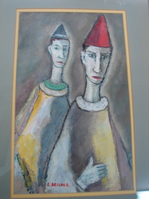 8: S. Brecher, oil painting, 2 Clowns, signed lower lef