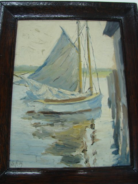 10: S.F.H. Sailboat, oil on artist board, signed lower