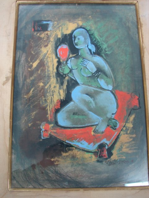 "11: S. Krishna, gouache, abstract painting, ""Woman with"