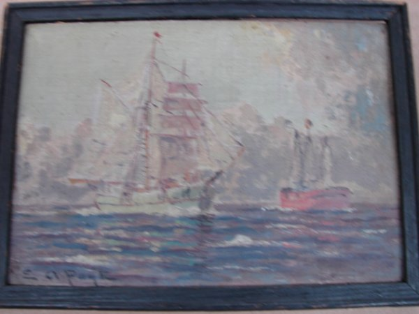 21: E.A. Page, oil on board, ships in harbor, signed lo