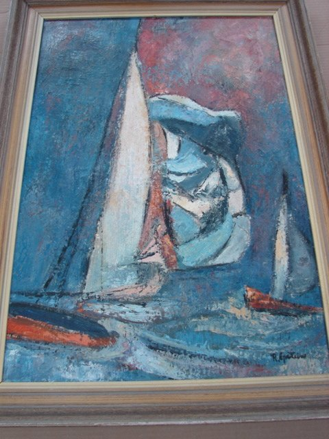 "22: R.Epstein, Sailboats, oil on canvas Size:  30"" x 20"