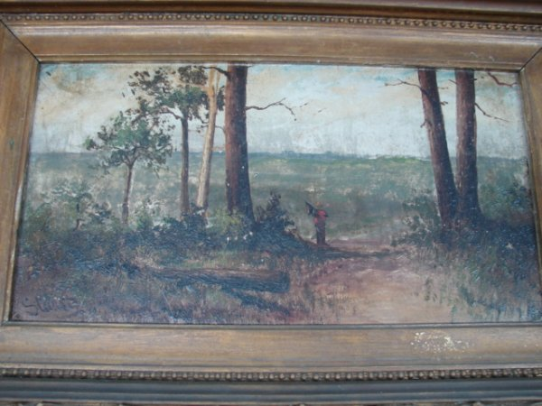 23: Landscape Painting, figure on wooded path, signed l
