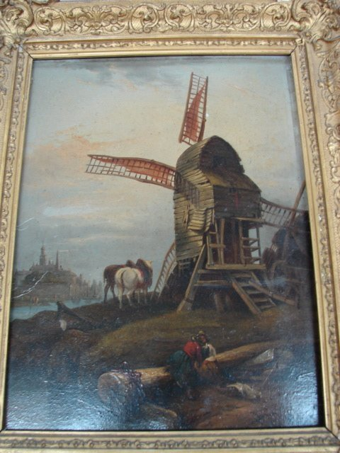 24: A.Wilheim Thorold, Windmill with figures, signed AW