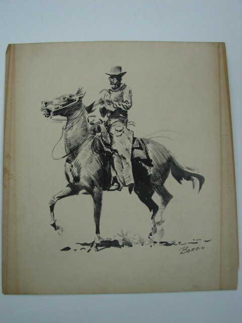 68: Edward Borein, ink on illustration board, signed lo