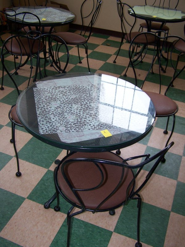 """1001: Round Wrought Iron Table, Glass Top, 30"""" & Three"""