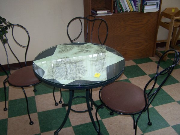 """1002: Round Wrought Iron Table, Glass Top, 30"""" & Three"""
