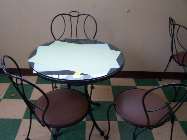 """1004: Round Wrought Iron Table, Glass Top, 30"""" & Three"""