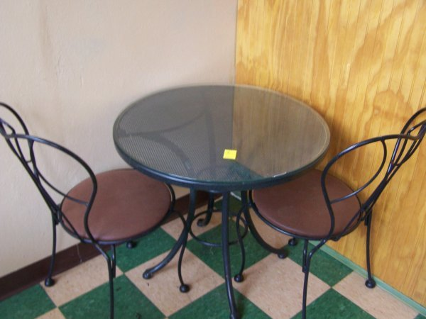 """1005: Round Wrought Iron Table, Glass Top, 30"""" & Two Ch"""