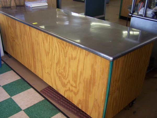 1012: Stainless Steel Top Counter On Casters, Wood Bead