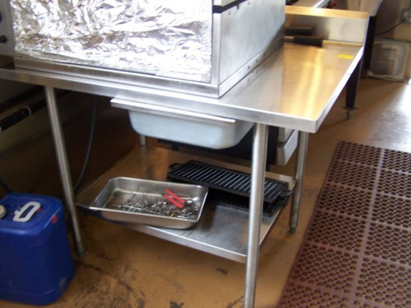 1016: Stainless Steel Table w/ Back Splash, One Drawer