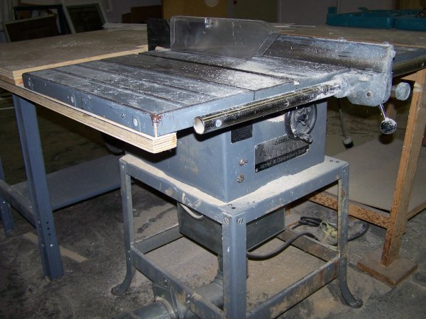 "2001: Delta Table saw, 10"" blade, metal frame  Model 34"