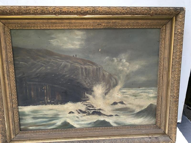 Large Framed Oil, Shore with Waves, Crackling