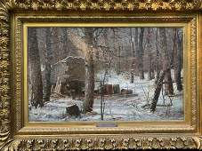 """Oil on Canvas, """"The Sugar House Camp"""", by H.A. Mills,"""