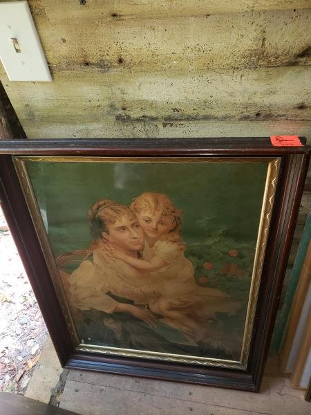 Print, Victorian mother & child, black walnut shawdown