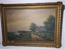 2 Oil on Canvas, Seascape of ship & Country Cottage;