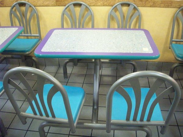 """24: Table & Chair Set / Unit w/ 39"""" x 24"""" Table, Metal"""