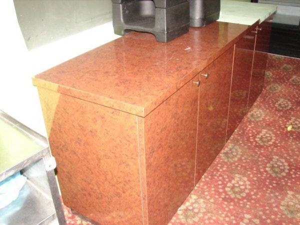 513: 7' 4 door server stands with burled walnut veneer