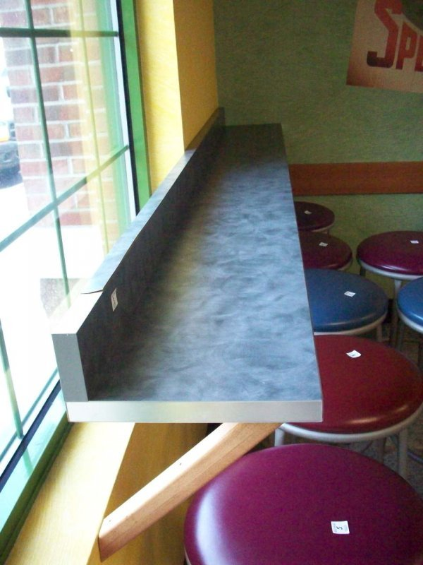 1003: Lunch Counter Wall Mounted With Veneer Damage
