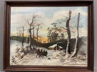 Painting, oil on canvas winter scene couple in sleigh,