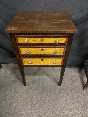 End Table mahogany, bird's-eye maple drawer front,
