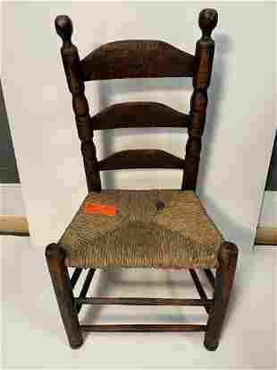 """Side Chair, curly maple, 3 slat back 1 1/2"""" pieced on"""
