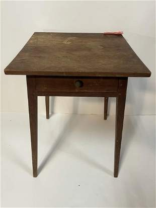 End Table, Maple, one drawer, tapered legs Stained top,